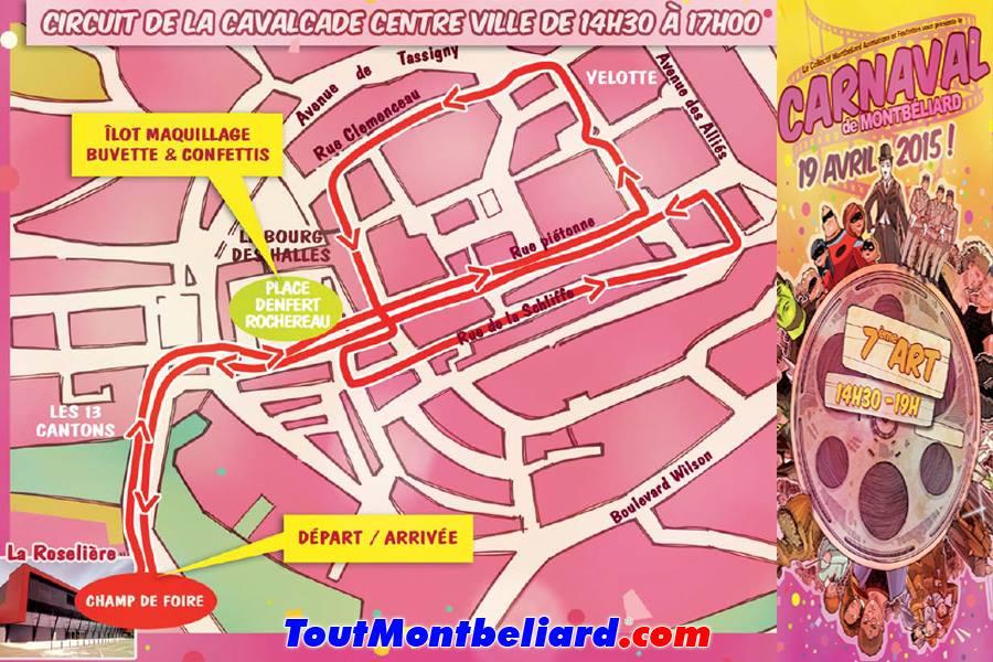 Carnaval de Montbéliard 2015 itinéraire