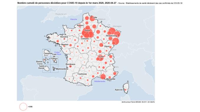 Coronavirus Covid 19 : détails par département des 814 décès en région, 23 293 en France ...