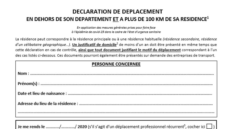 attestation declaration deplacement