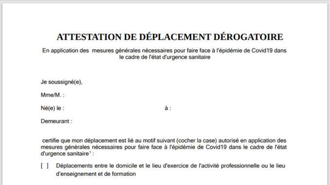 Attestation De Deplacement Derogatoire Et Justificatif De Deplacement Professionnel Pendant Le Couvre Feu Lie Au Coronavirus Toutmontbeliard Com